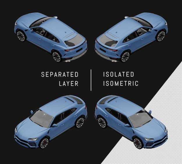 Izolowany niebieski sportowy elegancki suv izometryczny zestaw samochodowy