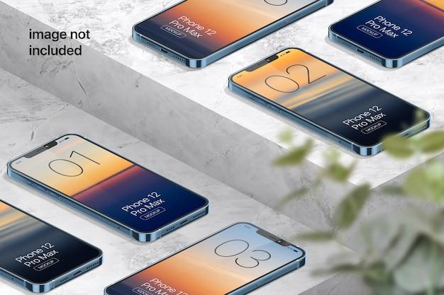 Izometryczna makieta ekranu telefonu komórkowego