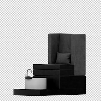 Izometryczne akcesoria kosmetyczne 3d renderowania odizolowane