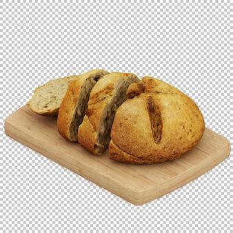 Izometryczne chleb drewniana deska do krojenia