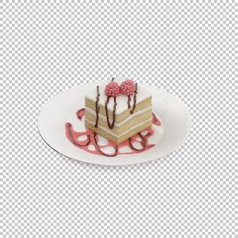Izometryczne ciasto na talerzu