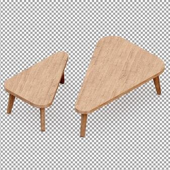 Izometryczne drewniane stoły