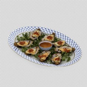 Izometryczne jedzenie na płytce renderowania 3d