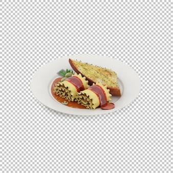Izometryczne jedzenie na talerzu