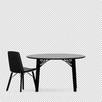 Izometryczne krzesło i stół renderowania 3d na białym tle