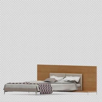 Izometryczne łóżko 3d render