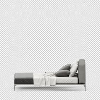 Izometryczne łóżko renderowania 3d na białym tle