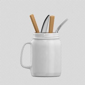 Izometryczne naczynia kuchenne renderowania 3d