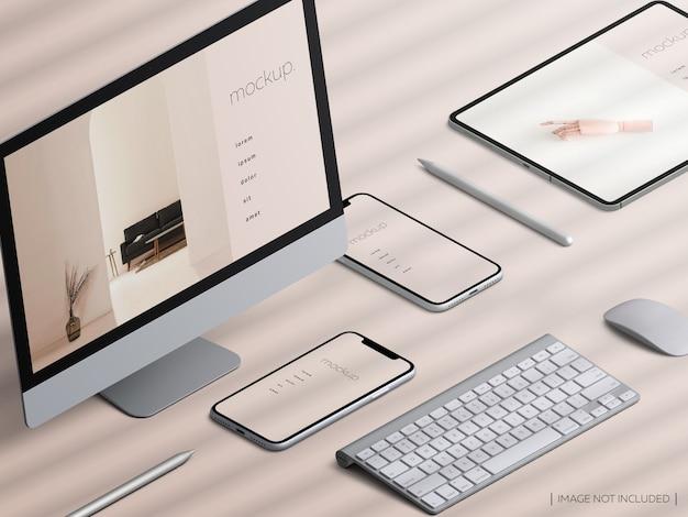 Izometryczne responsywne ekrany urządzeń i kreator scen
