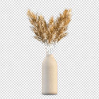 Izometryczne rośliny w puli renderowania 3d na białym tle