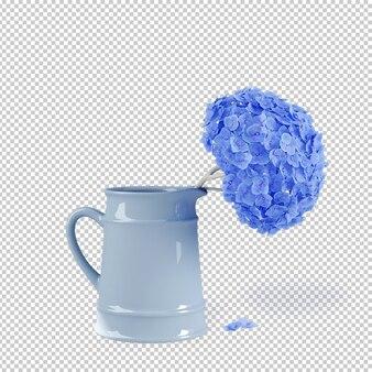 Izometryczne rośliny w puli renderowania 3d