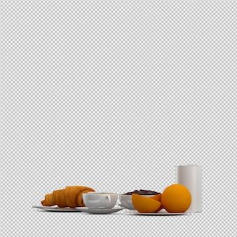 Izometryczne śniadanie 3d izolowane