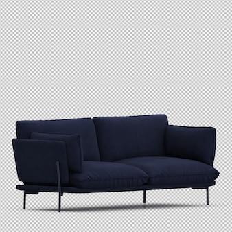 Izometryczne sofa 3d renderowania na białym tle