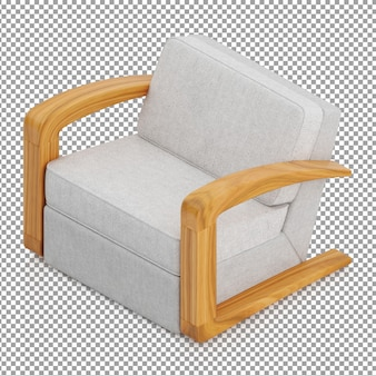 Izometryczny biały fotel
