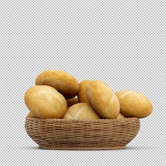 Izometryczny chleb 3d na białym tle