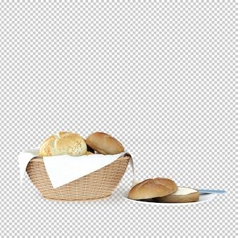 Izometryczny chleb renderowania 3d