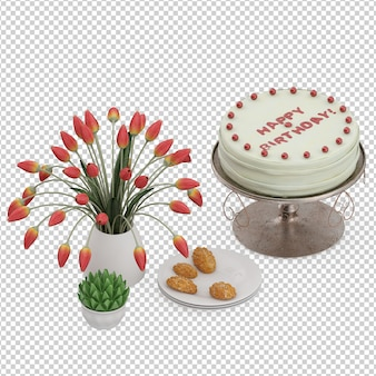 Izometryczny deser ciasto