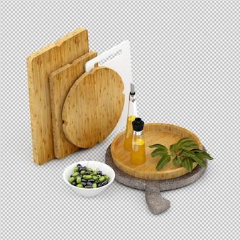 Izometryczny drewniana deska do krojenia