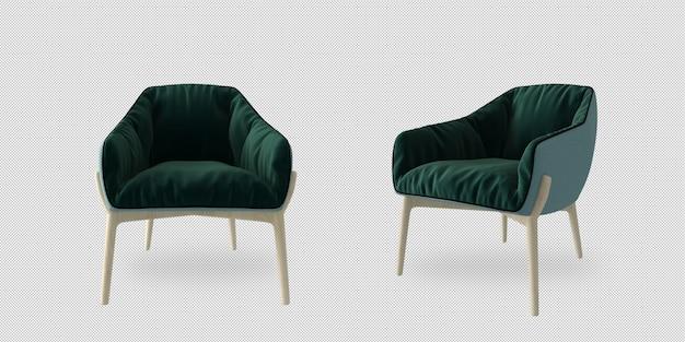 Izometryczny fotel w renderingu 3d