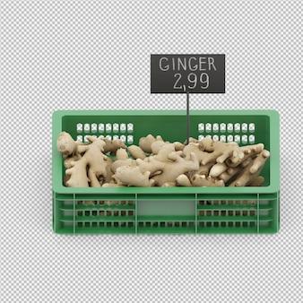 Izometryczny imbir 3d render