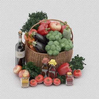 Izometryczny kosz z warzywami i owocami w wiklinowym koszu