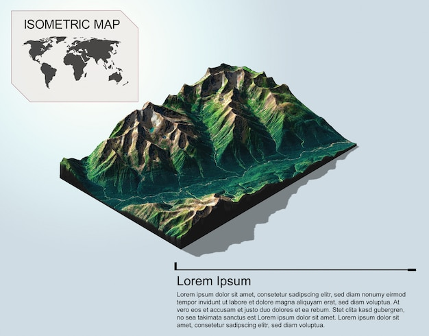 Izometryczny mapa wirtualnego terenu 3d infografikę.