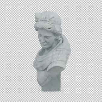 Izometryczny posąg renderowania 3d na białym tle