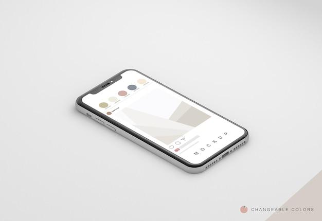 Izometryczny telefon minimal 3d z makietą interfejsu rrss