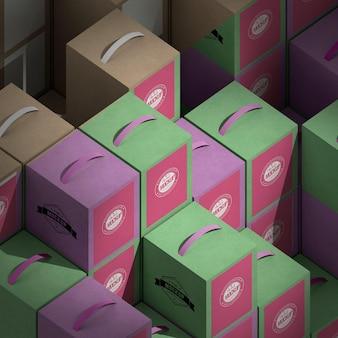 Izometryczny układ pudełek pod wysokim kątem