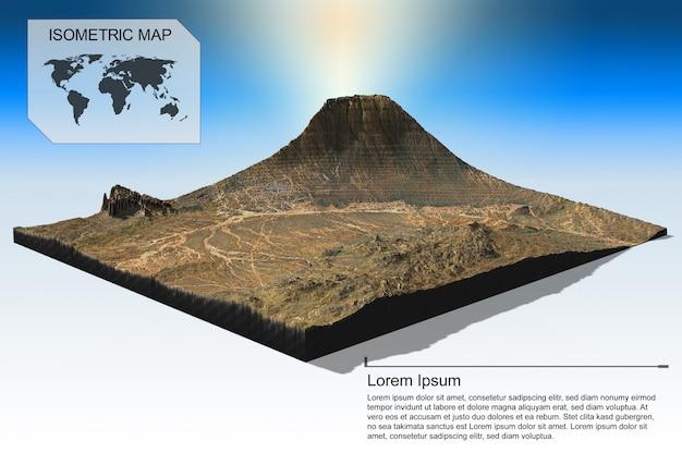 Izometryczny wirtualny teren dla infografiki