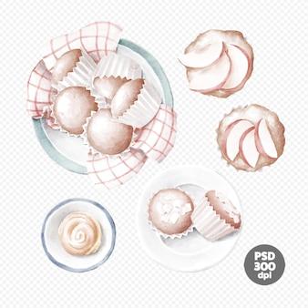 Jabłka, babeczki i bułka w talerzu ręcznie rysowane clipart