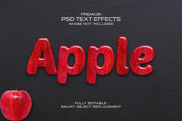 Jabłko edytowalny efekt 3d owocowy tekst