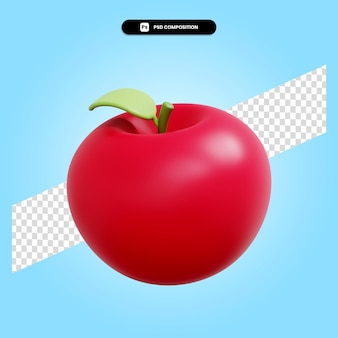 Jabłko jesienne owoce 3d render ilustracja na białym tle