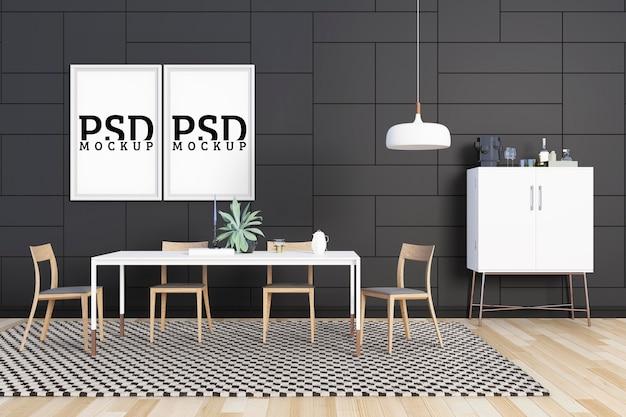 Jadalnia ma ścianę ozdobioną nowoczesnymi prostymi liniami i ramkami do zdjęć