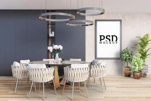 Jadalnia z okrągłym stołem i ramą do zdjęć