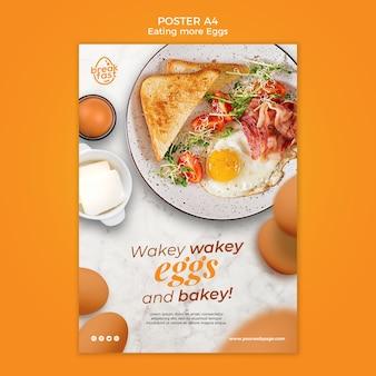 Jajka i pieczony szablon plakatu