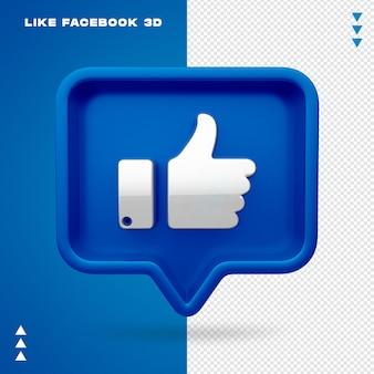 Jak facebook 3d na białym tle