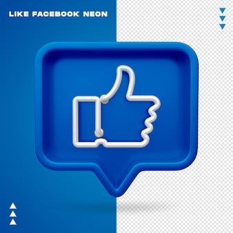 Jak facebook neon na białym tle