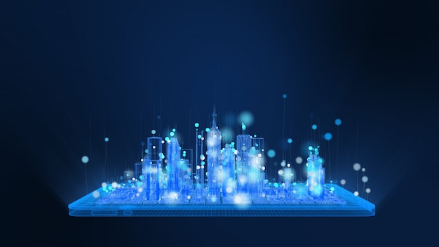 Jasna cyfrowa tabletka i miasto z drutu w jasnych niebieskich i białych cząsteczkach, linia cząstek kula unosi się. technologia cyfrowa i koncepcja komunikacji.