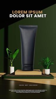 Jasny dzień minimalistyczne zielone wnętrze podium z tropikalną rośliną