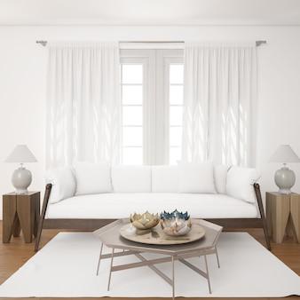 Jasny salon z białą sofą