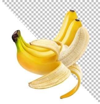 Jeden otwarty obrany banan na białym tle