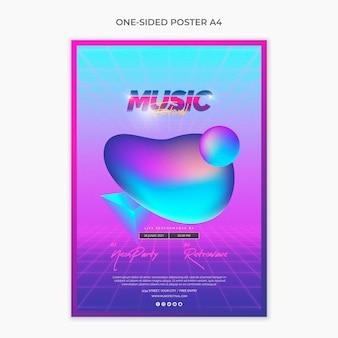 Jednostronny szablon plakatu a4 na festiwal muzyki lat 80-tych