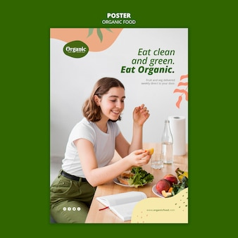 Jedz czysty i zielony szablon plakatu