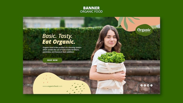 Jedz organiczne i zdrowe szablon sieci web banner