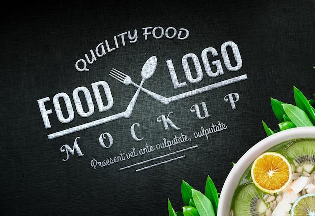 Jedzenie logo makieta vegan logo żywności tło żywności logo design wegańskie