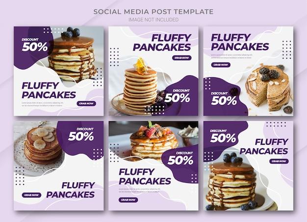 Jedzenie online zakupy na instagramie szablon pakietu postów