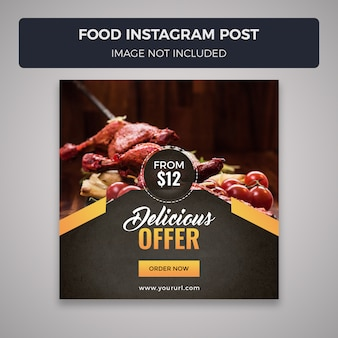 Jedzenie social media instagram post szablon projektu