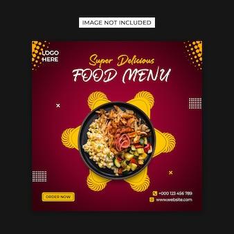 Jedzenie w mediach społecznościowych i szablon postu na instagramie