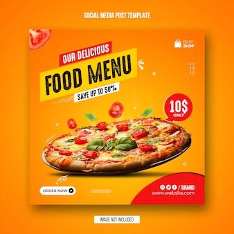 Jedzenie w mediach społecznościowych i szablon projektu banera na instagramie